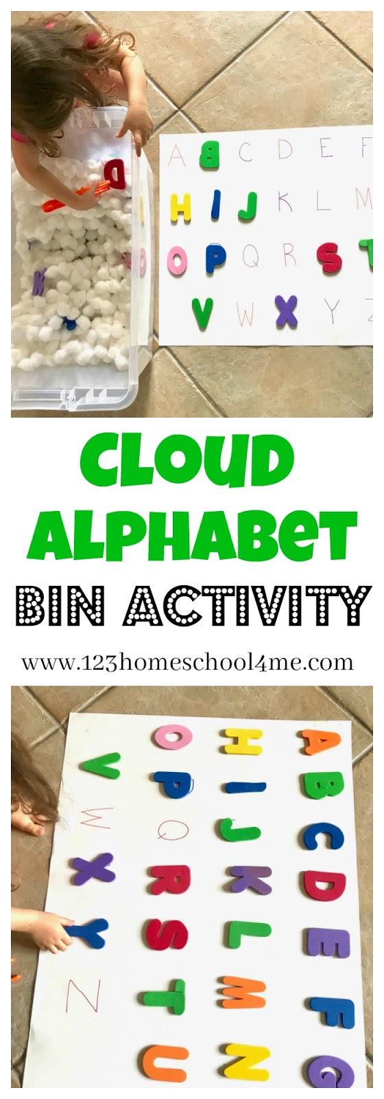 Cloud Alphabet Letters Bin Activity