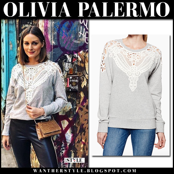 Olivia Palermo wearing grey crochet detail sweatshirt paige eilise casual style april 2018