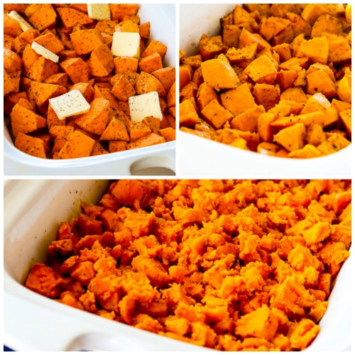 Spicy Crockpot Sweet Potatoes found on KalynsKitchen.com