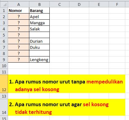 Soal Rumus Excel Membuat Nomor Urut