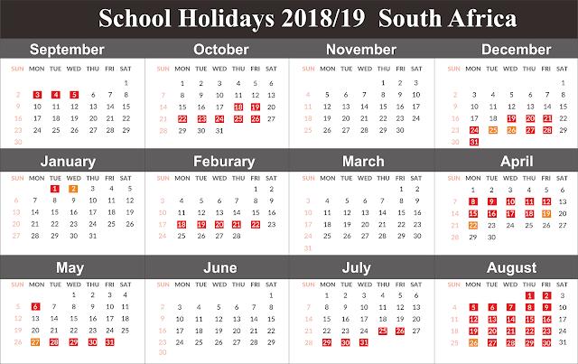 Template Free School Holidays Calendar 2019 SA