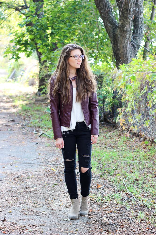 Fall Fashion | Burgundy Faux Leather Jacket