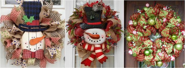 Aprende c mo hacer coronas navide as con mallas y mu ecos de nieve - Como hacer coronas navidenas ...