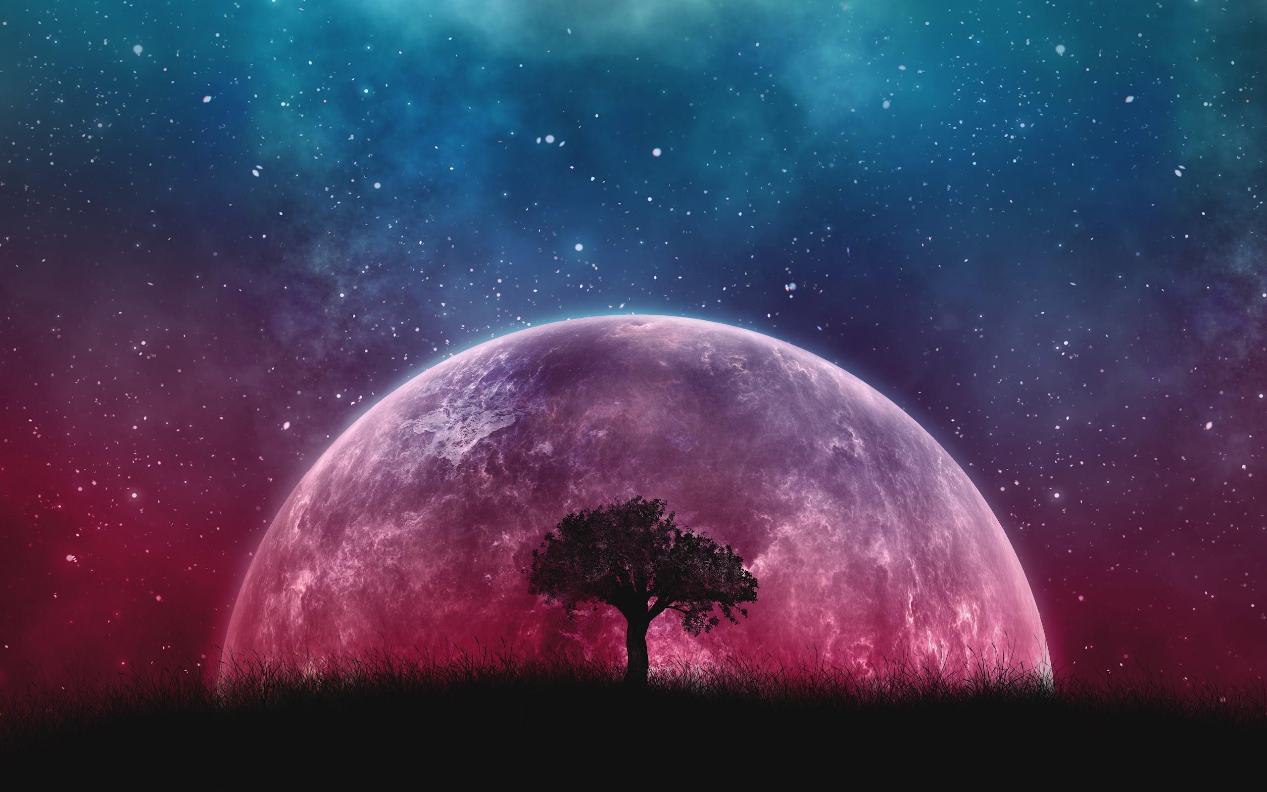 Moon Night Sky Stars Landscape Scenery 8k Wallpaper 189