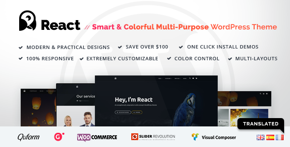 Download React – Responsive WordPress Theme Creator