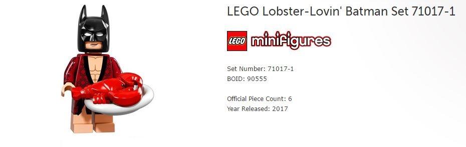Batman Movie Lego LOBSTER LOVIN Series 1-71017