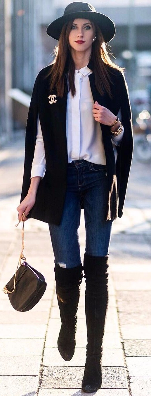 keeping it classy | over-the-knee boots + white shirt