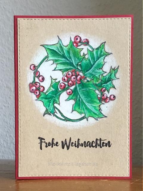"""""""Stechpalme"""" Heindesign,  """"13 mal Frohe Weihnachten"""" Klartext Stempel"""