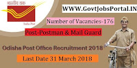 Odisha Postal Circle Recruitment 2018 – 176 Postman & Mail Guard
