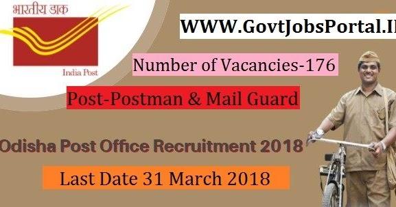 Odisha Postal Circle Recruitment 2018 – 176 Postman & Mail Guard