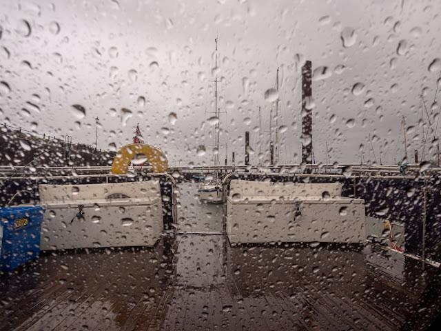 Photo of wet Wednesday at Maryport Marina