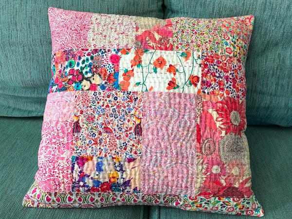 Pink Liberty Kantha-Style Pillow