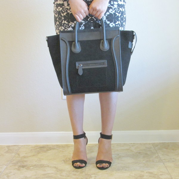 Dimensions & size : BAGINC Vanessa Large Tote Suede Leather Black Bag - REVIEW