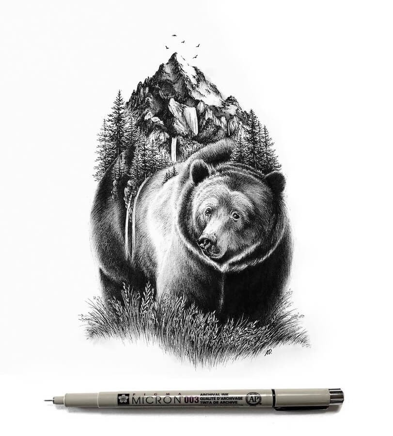 03-Grizzly-Bear-Alyse-Dietel-Animal-Drawings-Surrealism-www-designstack-co