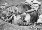 Photograph of Home Guard soldiers operating a Blacker Bombard during spigot mortar training near Craven Arms, Shropshire, 20 May 1943. Image from Wikimedia Commons.