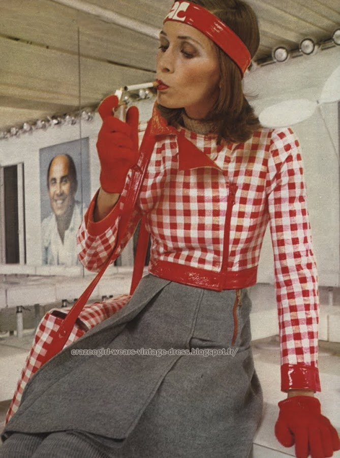 André Courrèges - 1972 jacket bag gingham red white headband 70s 1970