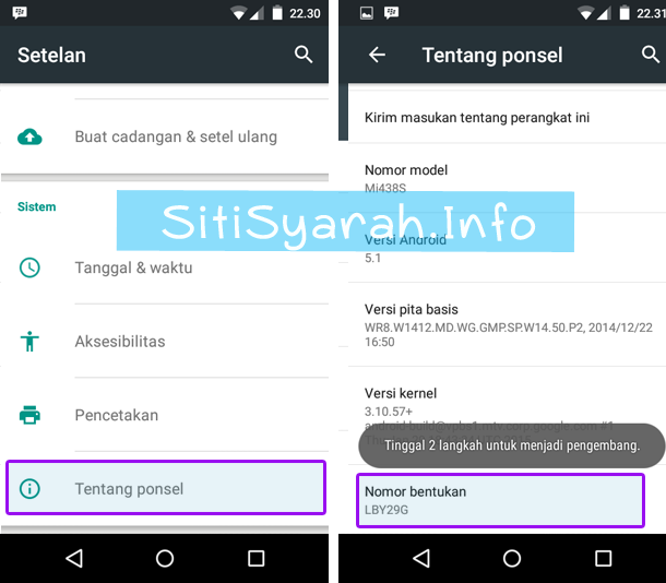 Developer Mode Android One Lollipop