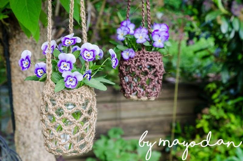 diy blumenampeln aus paketschnur h keln und eine buchvorstellung mayodans home garden crafts. Black Bedroom Furniture Sets. Home Design Ideas