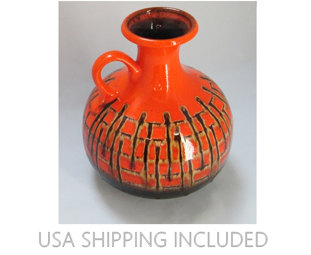 Jasba Keramic 1960's WGP Jug Vase 1231-20 Cool Form Hot Color