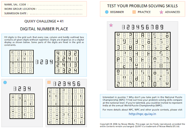 Digital Number Place or Digital Sudoku Puzzles