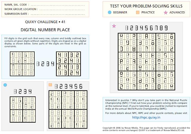 Digital Number Place or Digital Sudoku Puzzles