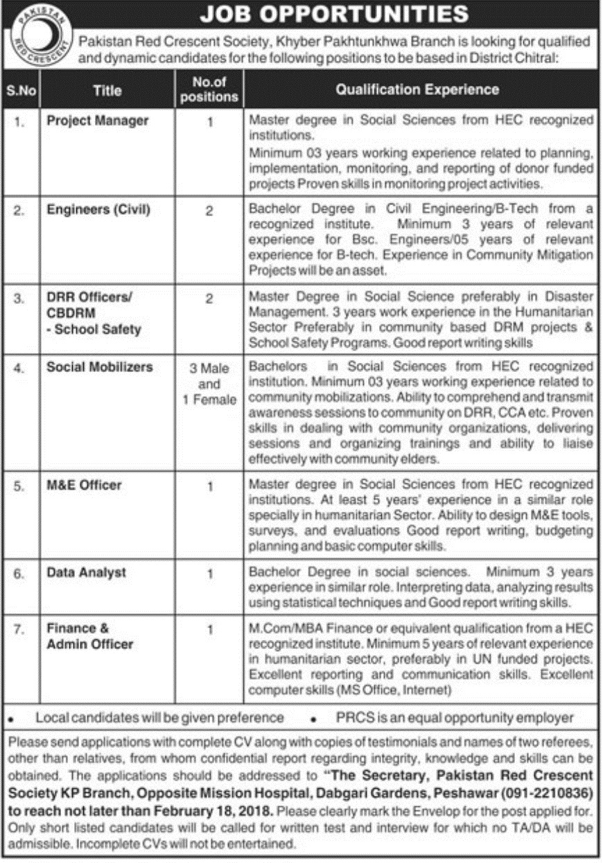Today Latest Jobs In Pakistan Red Crescent Society Feb 2018