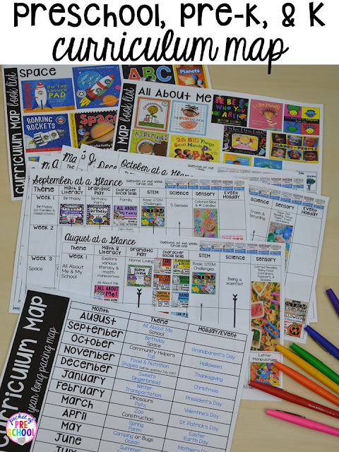 Curriculum Map (Preschool, Pre-K, and Kindergarten) for the whole year! Year plan, month plans, and week plans by theme with book lists for each theme!
