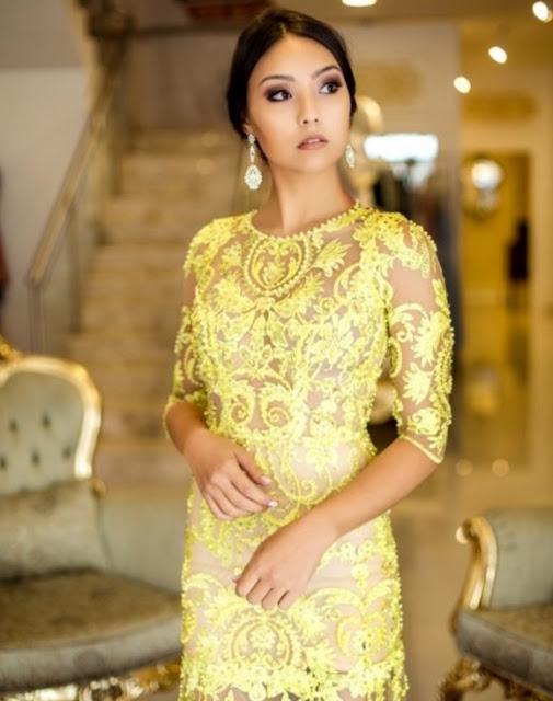 vestido de festa bordado amarelo