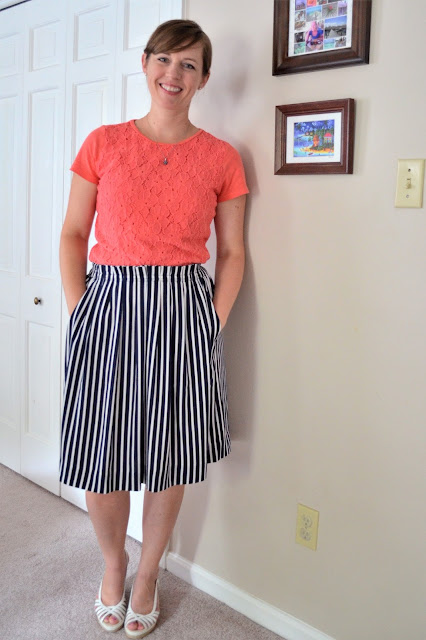 J. Crew factory striped skirt, striped midi skirt