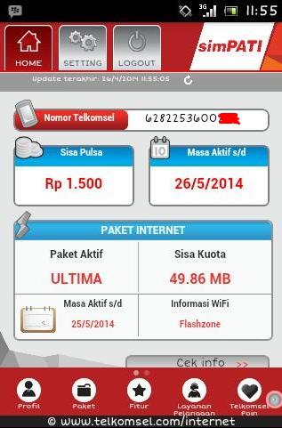 Menu Utama dari aplikasi MyTelkomsel Android