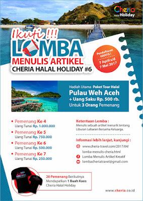 Lomba Menulis Artikel Kreatif Ke Pulau Weh Aceh Bersama Cheria Halal Holiday
