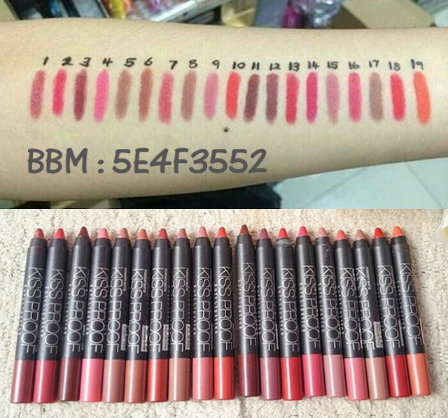 Lipstick KISSPROOF 19 Warna Lengkap Kiss Proof