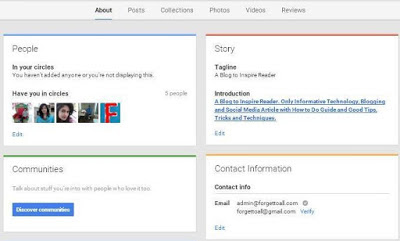 Google+ plus page About page Information
