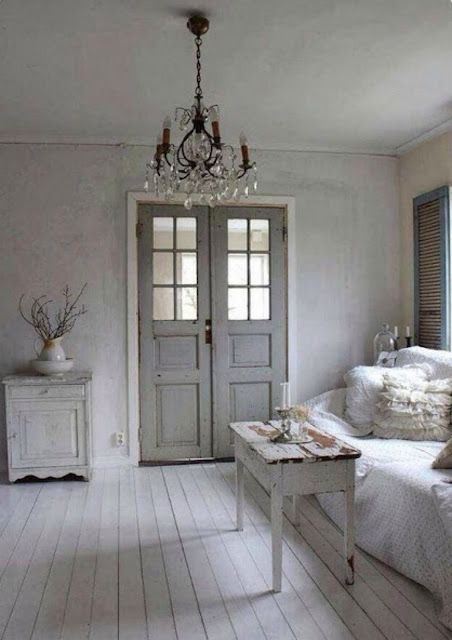 French Farmhouse room with muted tranquil color palette on Hello Lovely Studio