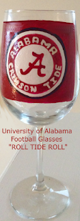 hand painted U Of A football glasses