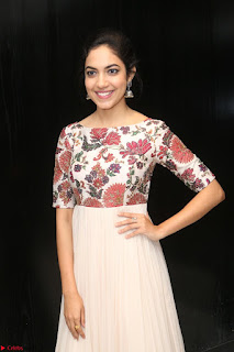 Ritu Varma smiling face Cream Anarkali dress at launch of OPPO New Selfie Camera F3 ~  Exclusive 030.JPG
