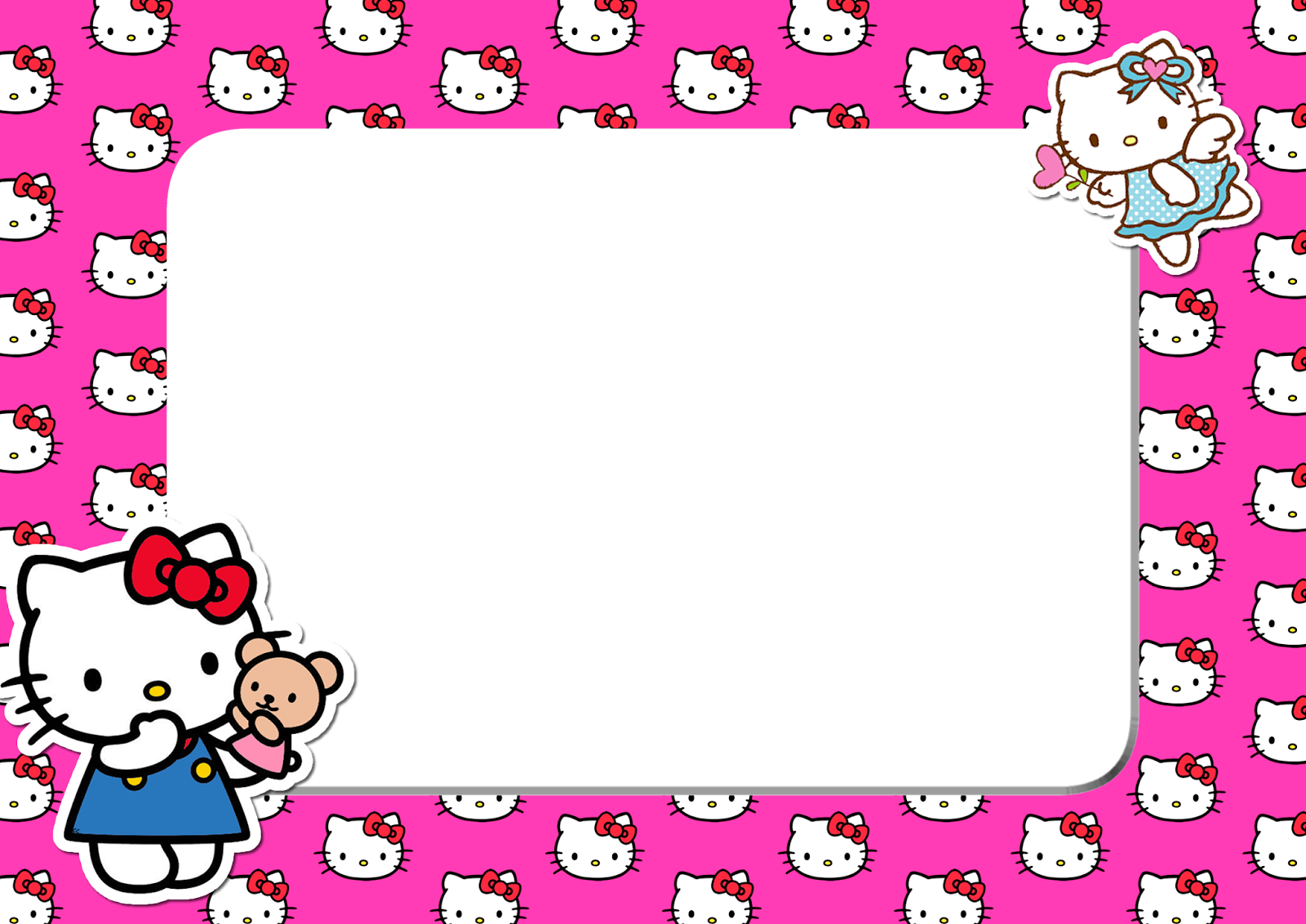 Cute Barbie Images For Wallpaper Hello Kitty Pink Head Png Frame Printable Png Frames