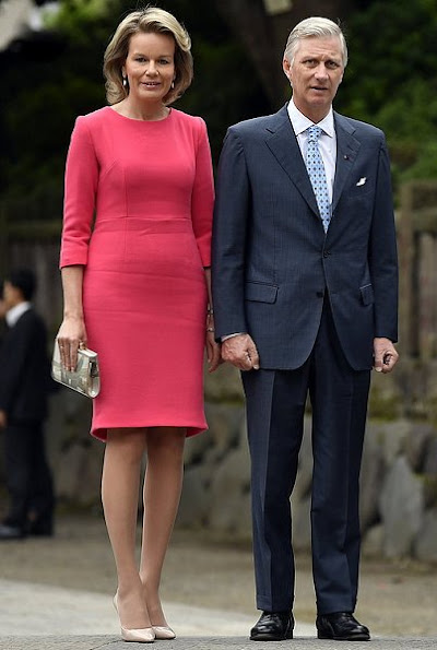 Belgian Royals visit Nezu Shrine in Tokyo, Japan. Queen Mathilde and King Philippe