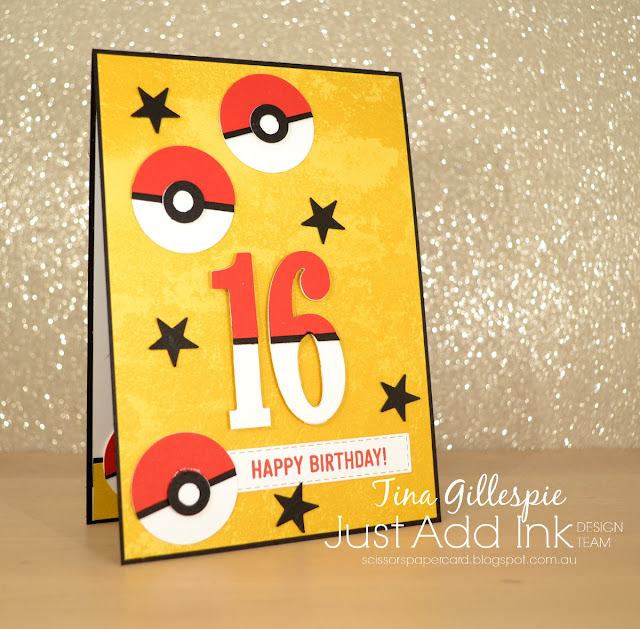 scissorspapercard, Stampin' Up!, Just Add Ink, Amazing Life Bundle, Picture Perfect Birthday, Large Numbers, Classic Garage DSP, Punch Art, Pokemon