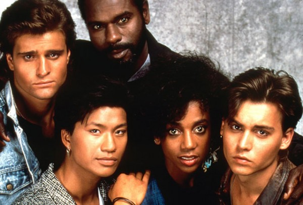 21 Jump Street TV cast members Johnny Depp, Holly Robinson Pete, Peter Deluise, Dustin Nguyen, Steven Williams