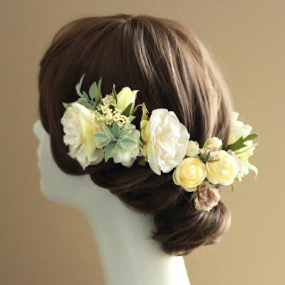フリルローズの髪飾り_ウェディングブーケと花髪飾りairaka