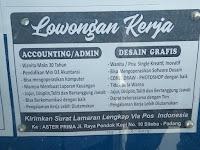 Lowongan kerja Desain Grafis dan Accounting/Admin