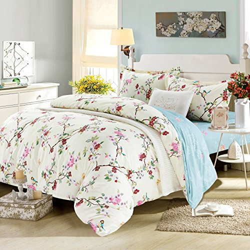 Bird Themed Bedding 4 Pce Duvet Sheet Set With Birds