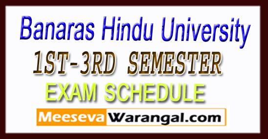 BHU Banaras Hindu University 1ST-3RD SEMESTER EXAM SCHEDULE