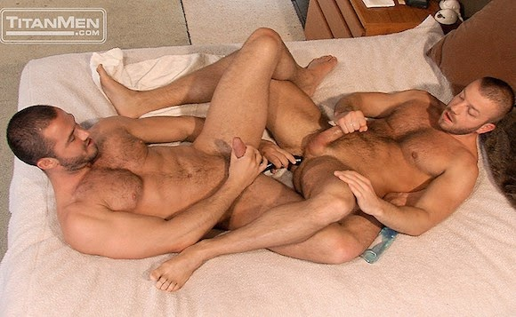 Men play with dildos
