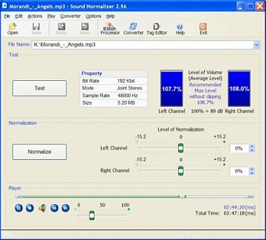 Sound Normalizer improves and regains a quality of Mp3 and Wav files