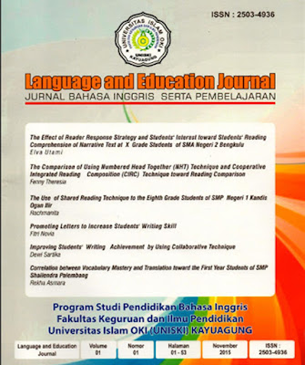 LANGUAGE AND EDUCATION JOURNAL VOLUME 1 NO. 1- FENNY THRESIA - THE COMPARISON OF USING NUMBERED HEAD TOGETHER (NHT) TECHNIQUE AND COOPERATIVE INTEGRATED READING COMPOSITION (CIRC) TECHNIQUE TOWARD READING COMPARISON