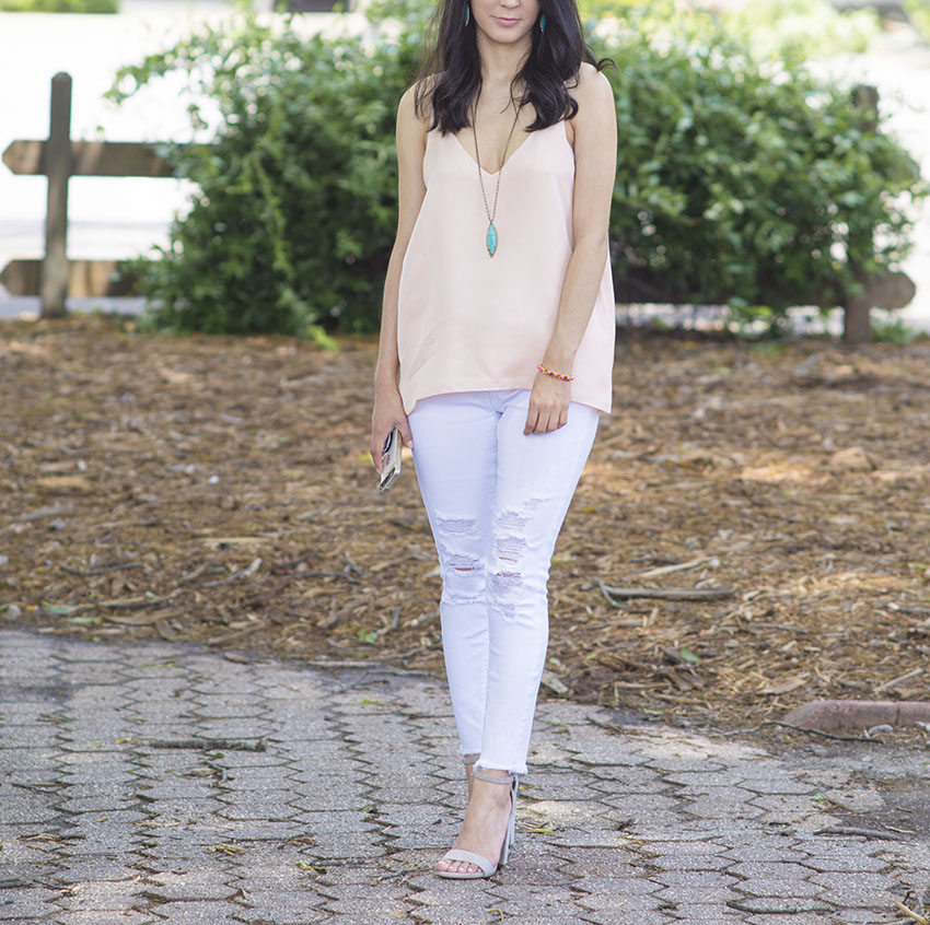 steve madden carrson sandals_grana silk v neck cami_white ripped jeans_kendrascott milla necklace and earrings