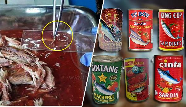 6 produk ikan sardin dalam tin ditarik balik, disyaki mengandungi cacing