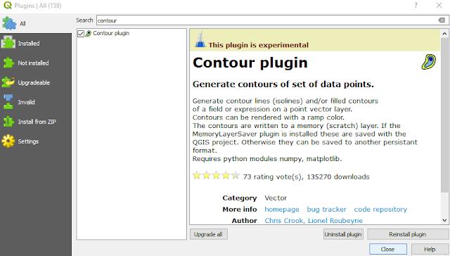 Installing Contour Plugin QGIS 3